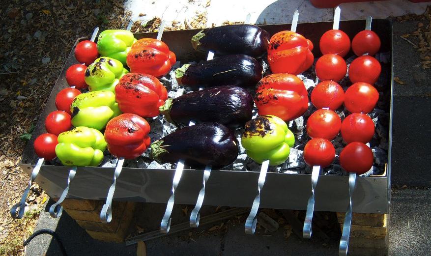 как пожарить овощи на шампурах
